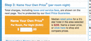 "Priceline's ""name your own price for hotels"" main bidding page - bid entry."