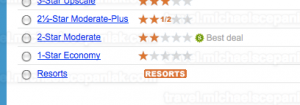 "Priceline's ""name your own price for hotels"" main bidding page - ""Resorts"" quality"