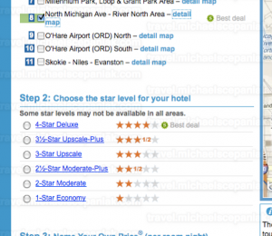 "Priceline's ""name your own price for hotels"" main bidding page - quality selection."