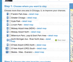 "Priceline's ""name your own price for hotels"" main bidding page - zone selection."