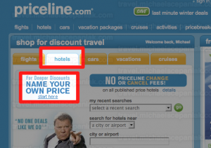 Priceline's Name Your Own Price link