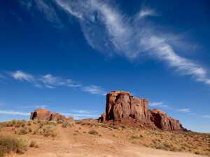 Spearhead Mesa under a blue sky in Autumn - Monument Valley Navajo Tribal Park, USA